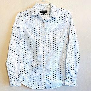 Banana Republic Button Front LS Shirt Black Dots